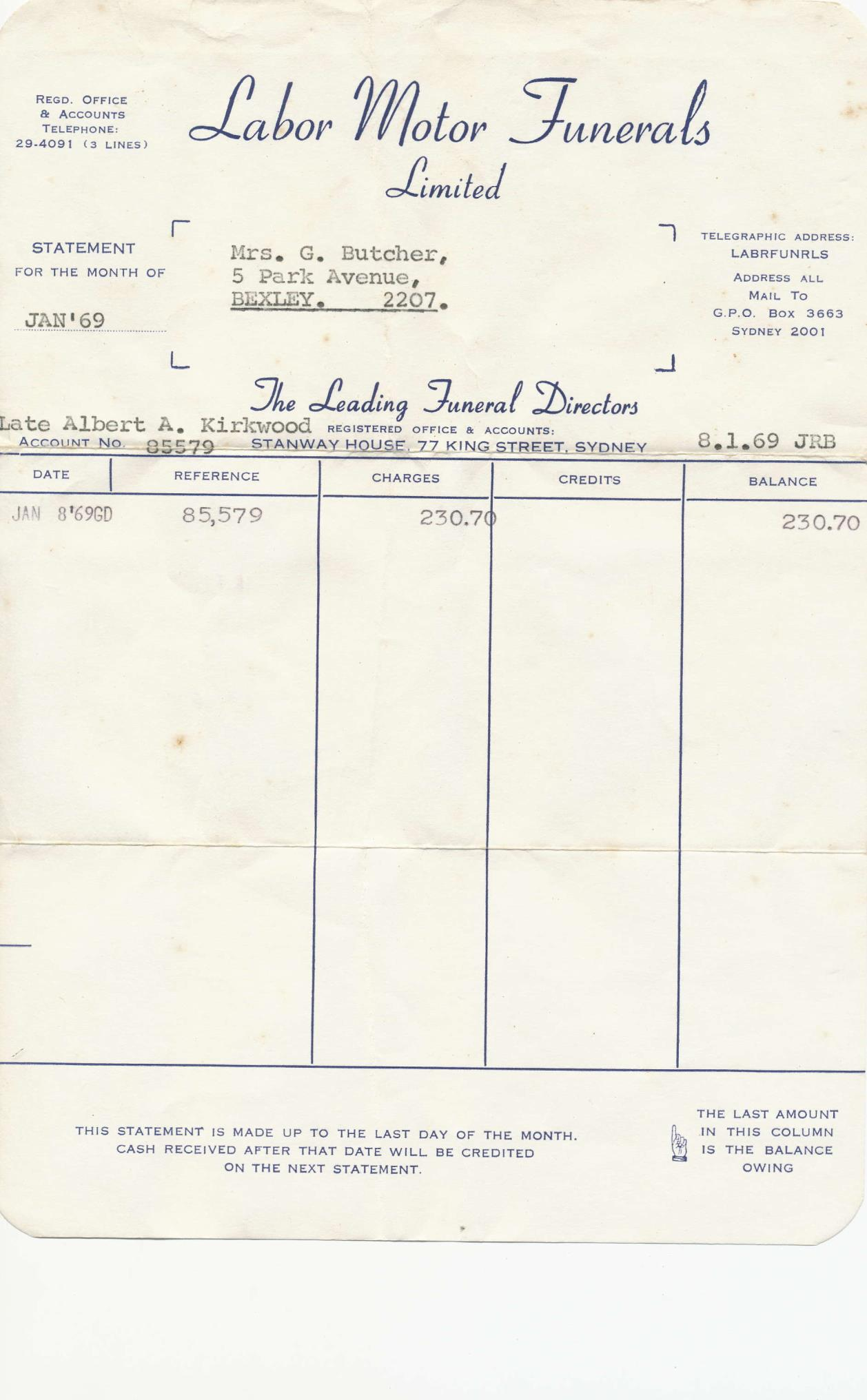Funeral Arrangement, Invoice, Statement and receipt for Albert Alexander Kirkwood