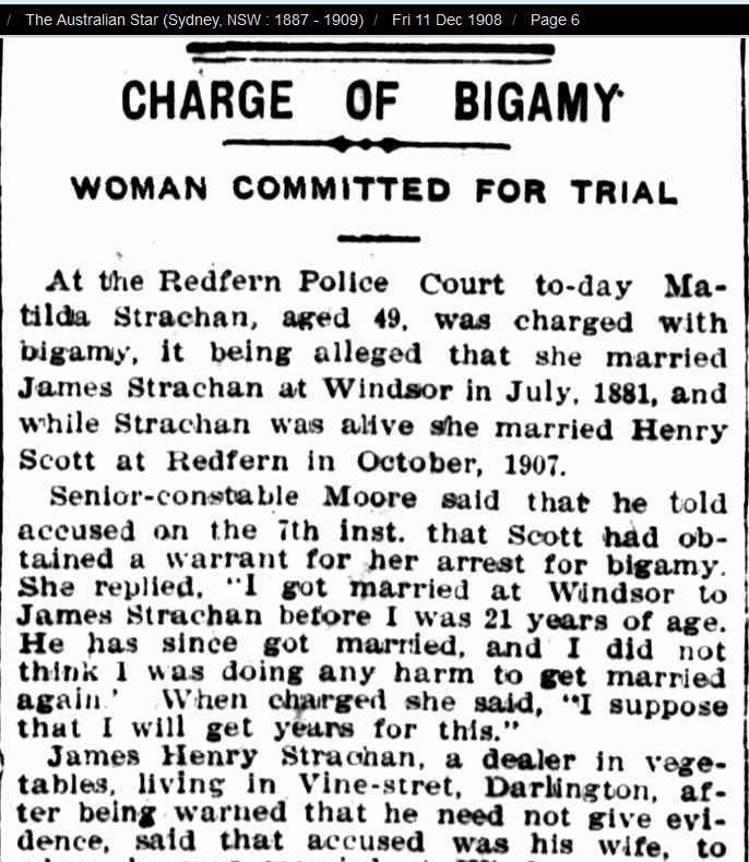 Report on the trial of Matilda Strachan (n. Potts) for Bigamy