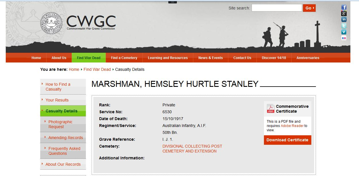 Burial Details of Private Hemsley Hurtle Stanley Marshman 6530