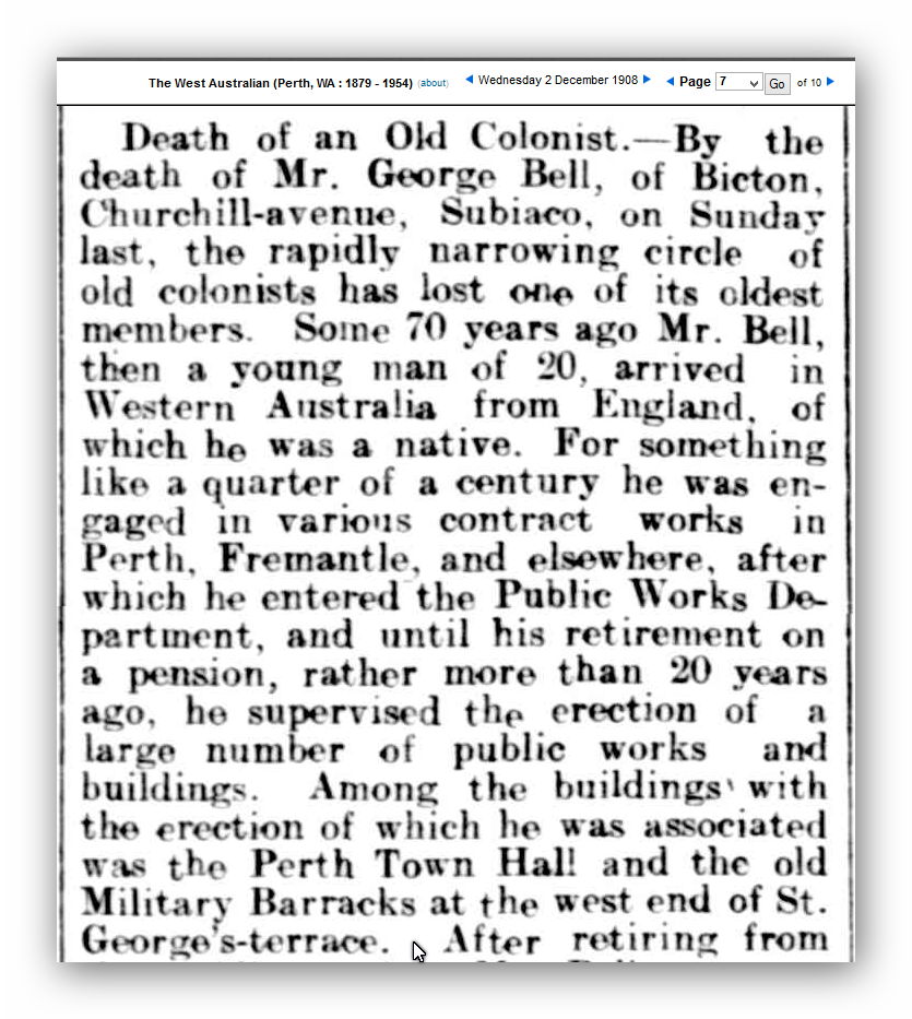 Obituary of George Bell