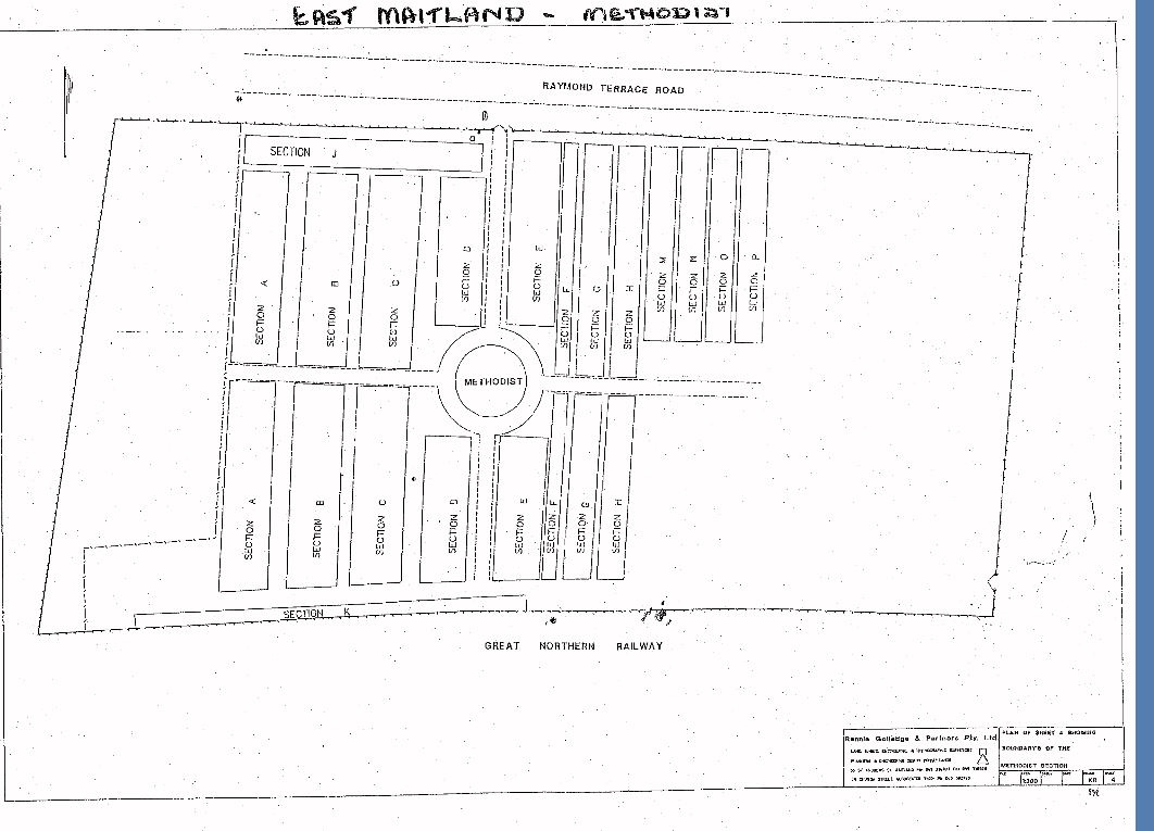 Map Of East Maitland Cemetery
