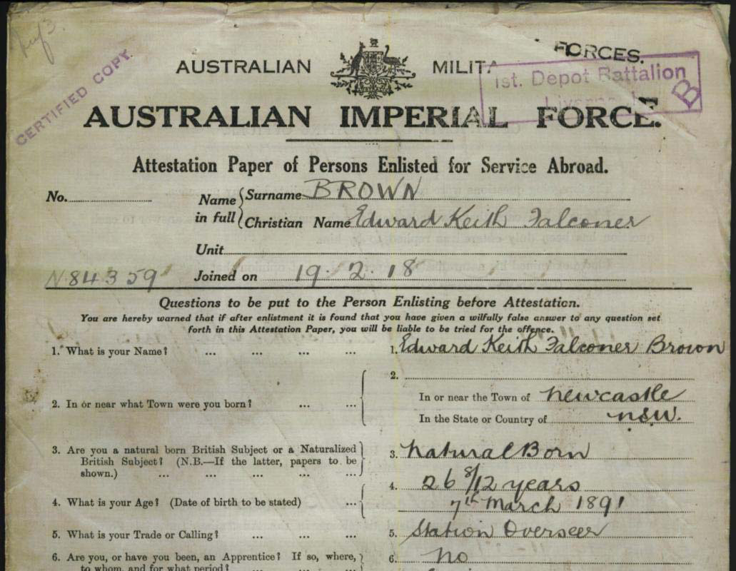 Military record of Edward Keith Falconer Brown