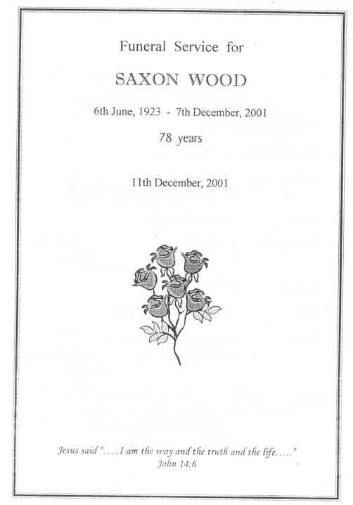 Funeral Service of Saxon Wood (n. Manning)