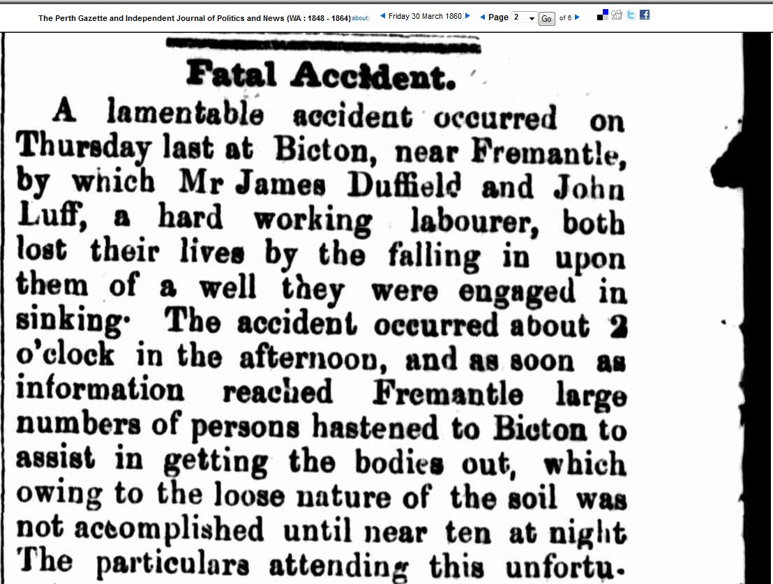 Death of James Hole Duffield