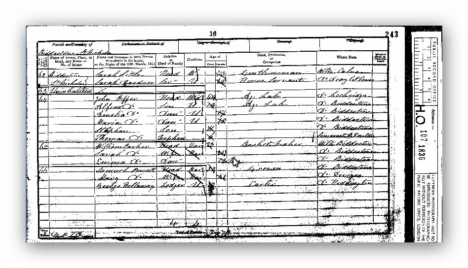 1851 Census of England and Wales, Wiltshire, England - Maria Offer
