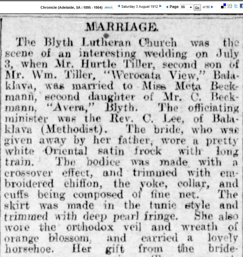 The Marriage of Hurtle and Agnes Tiller (n.Beckman)