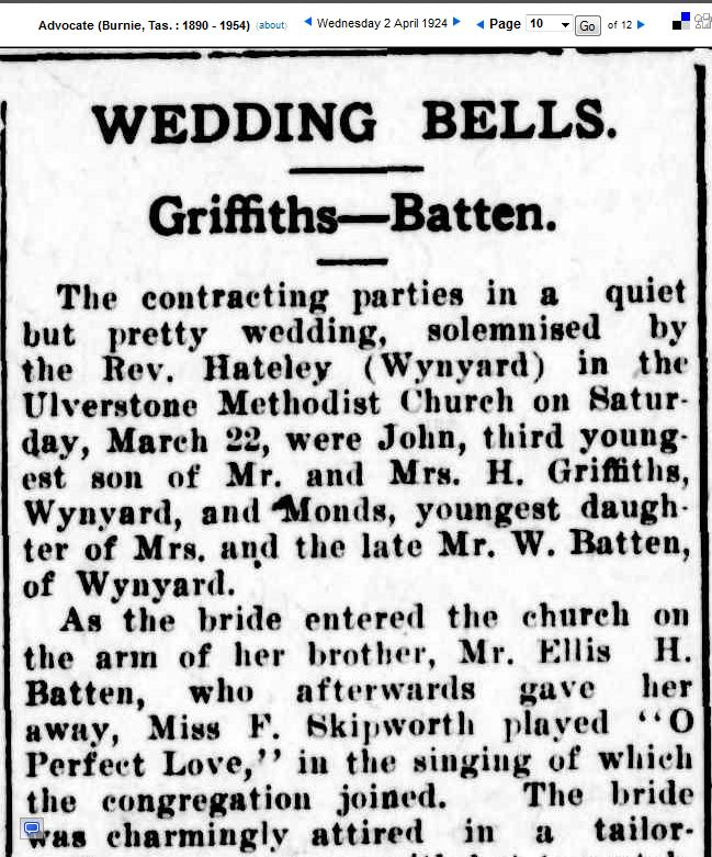 Marriage of John Griffiths and Ivy Monds Batten