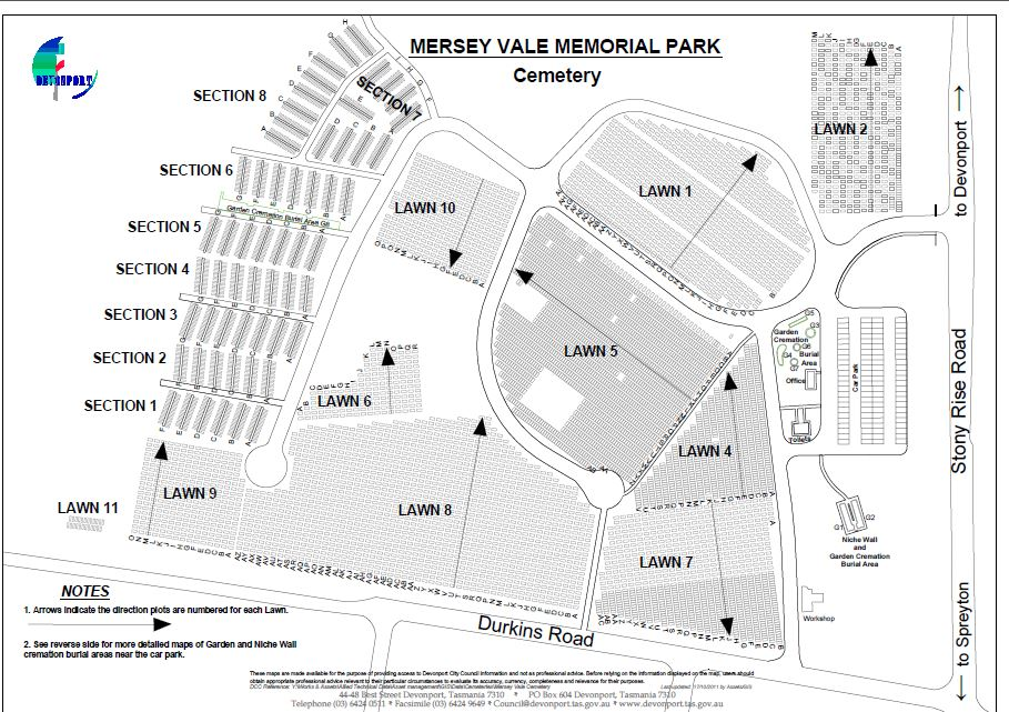 Mersey Vale Cemetery Map