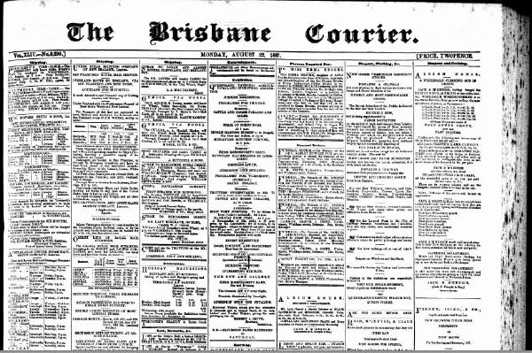The Brisbane Courier Newspaper - Monday, August 22, 1887