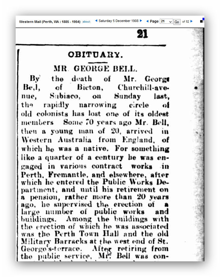 Obituary - Mr George Bell