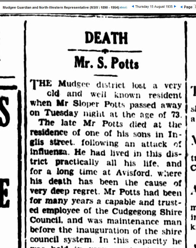 Obituary Sloper Potts
