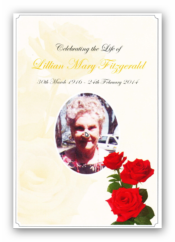 Order of Service - Lillian Mary Fitzgerald (n. Bottcher)