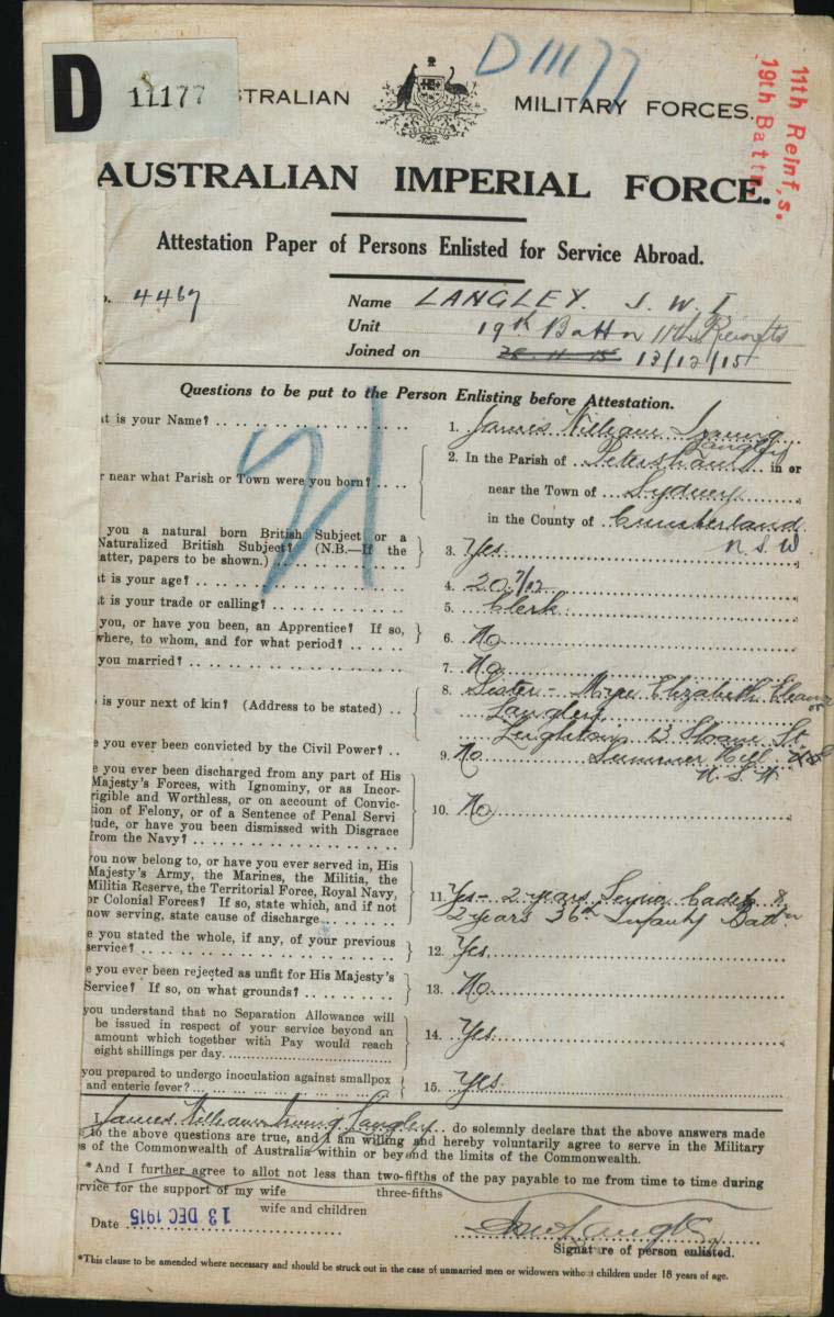The World War I Military Service Record of James William Irving Langley