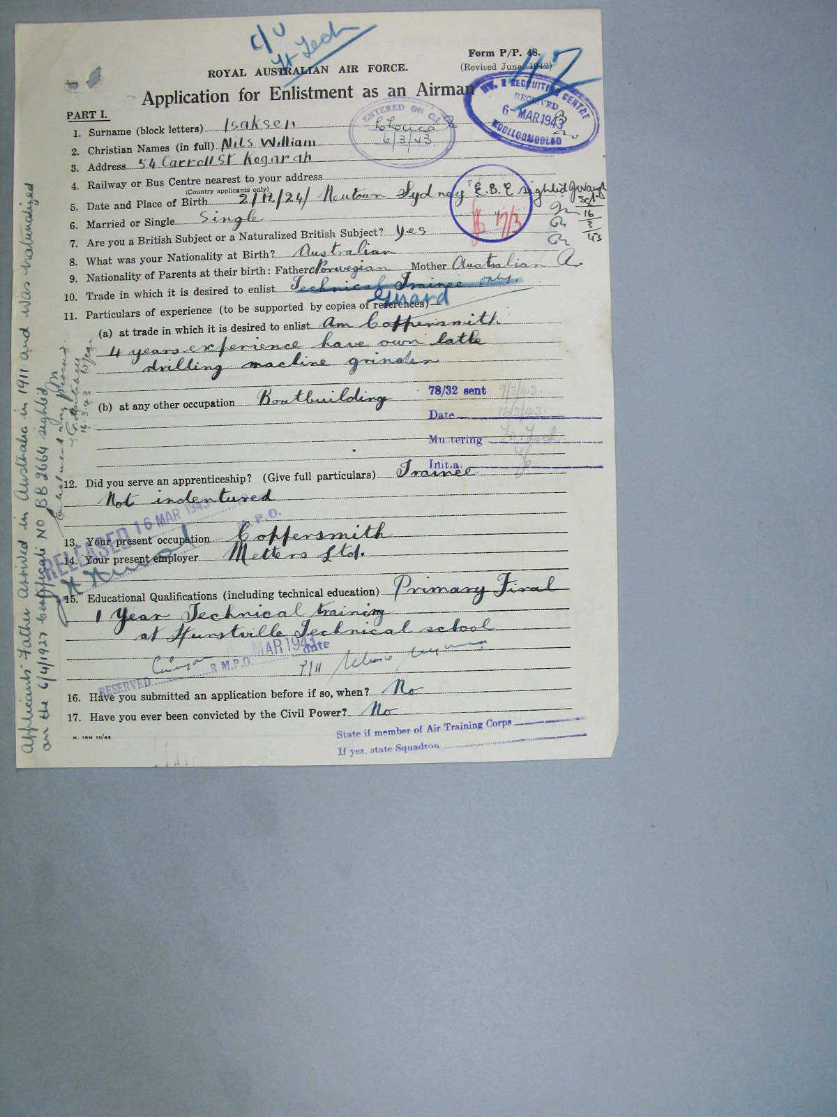 World War II Military Service Record