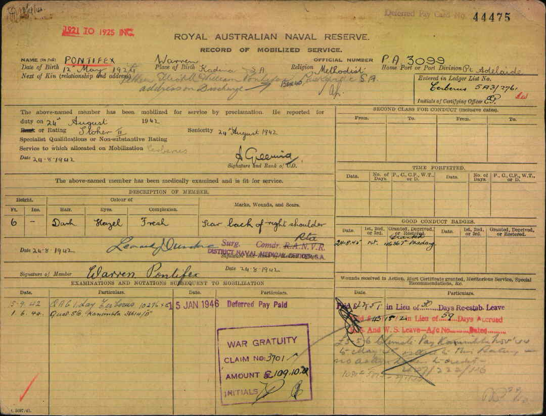Royal Australian Naval Reserve Service Record