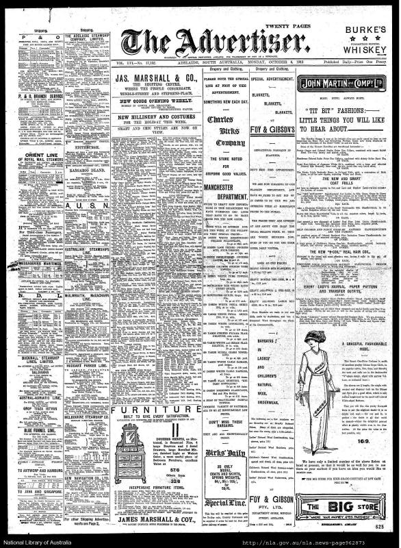 The Advertiser News Paper, Adelaide Monday 06 October 1913