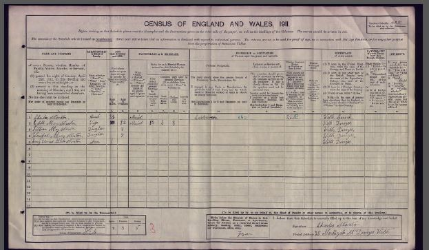 1911 Census of England and Wales - Devizes, Wiltshire, England - Charles and Edith Stanton (n. Cook) and Family