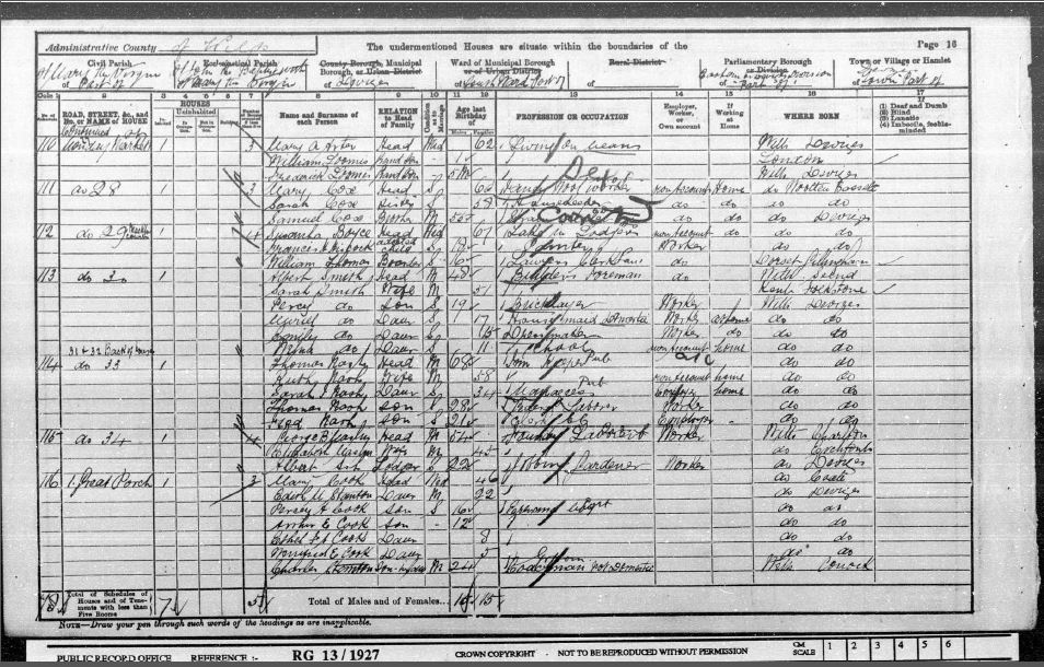 1901 Census of England and Wales - Devizes, Wiltshire, England - Charles and Edith Mary Stanton (n. Cook)