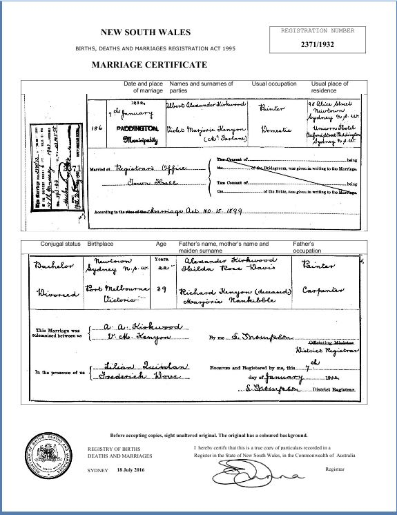 Marriage Certificate of Albert Alexander Kirkwood and Violet Marjorie Kenyon (McFarlane)