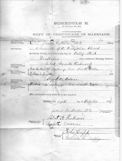 Certificate of Marriage - Robert Alexander Kirkwood and Bridget Osborne (n. Ward)