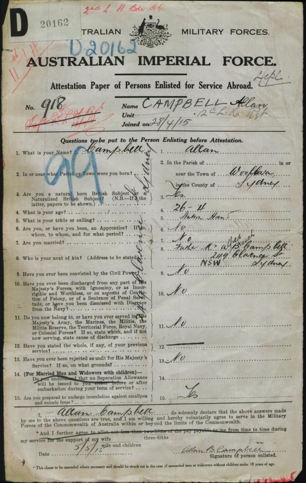 World War 1 Military Service Record - 918 Lance Corporal Allan Begbie Campbell