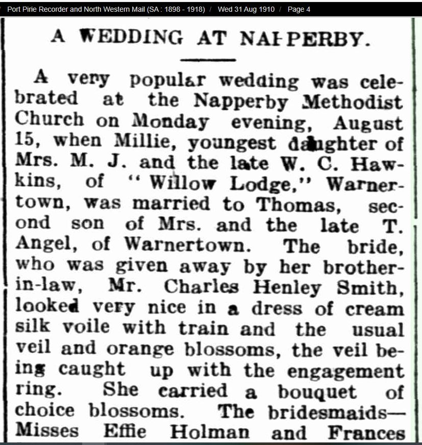 Wedding at Napperby - Thomas Angel and Millie Una Hawkins