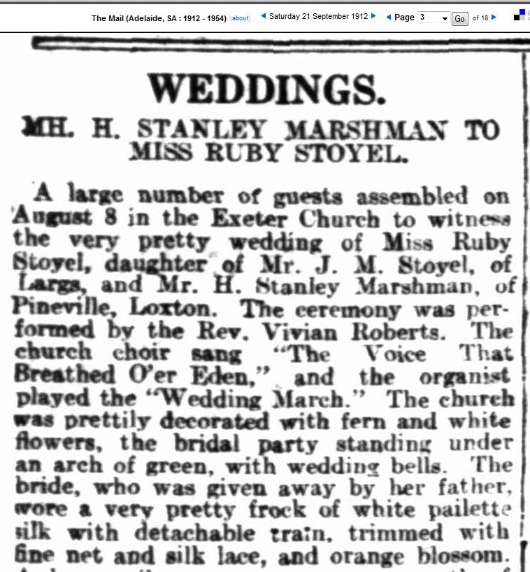 The Wedding of Hemsley Hurtle Stanley Marshman to Ruby Ida Stoyel