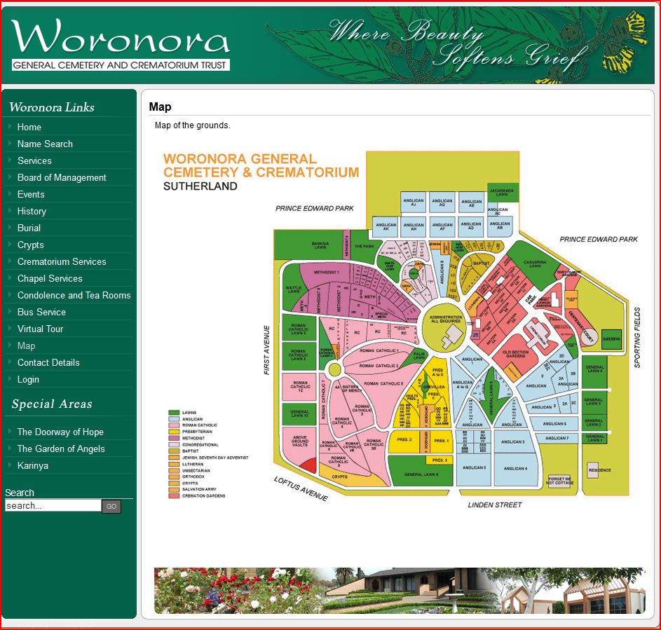 Woronora General Cemetery and Crematorium Map